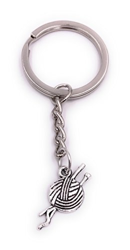 H-Customs Wolle Stricken Wollknäuel Schlüsselanhänger Anhänger Silber aus Metall