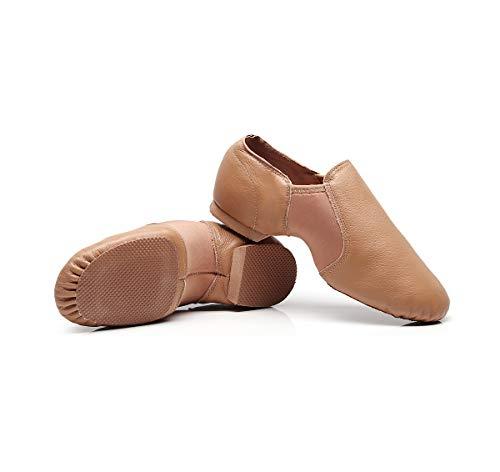 DoGeek Jazzschuhe Damen Tanzschuhe Leder, zum hineinschlüpfen, Geteilte Sohle für Kinder und Erwachsener - 2