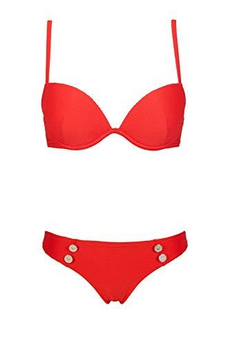 Emporio Armani Swimwear Damen Push-UP & Brief Beachwear SAIL Away Bikini-Set, Rot (Rosso 00074), 40 (Herstellergröße: L)