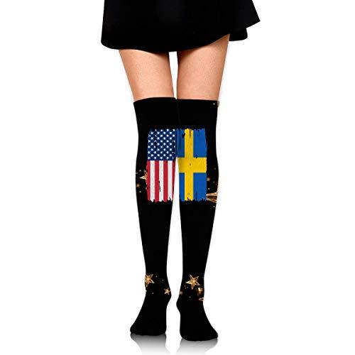 Nice-Guy Bota para mujer de la bandera sueca americana Medias altas hasta la rodilla Medias altas