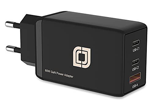 Jumper 65W USB Ladegerät GaN-Technologie, 3 Port Schnellladegerät, USB C Ladeadapter/Netzteil, kompatibel mit Phone 12/12 mini/12 Pro Max/11, Galaxy S21 Ultra/S21/S20, USB-Anschluss Geräte (schwarz)