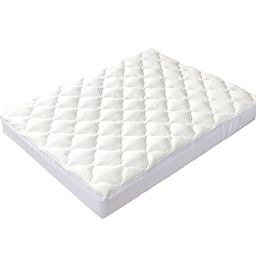 Cheer Collection Soft and Plush Bamboo Fitted Mattress Topper - Queen Size - Ultra Plush Eco Friendly Comfort