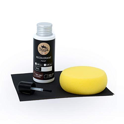SOFOLK - Kit di ritocco per Pittura Pelle/Ecopelle/Vinile – 21 Colori proposti – Manutenzione per Sedile e Volante di Auto, Divano, Scarpe, Giacche e Altri Indumenti… (Nero - RAL 9005)