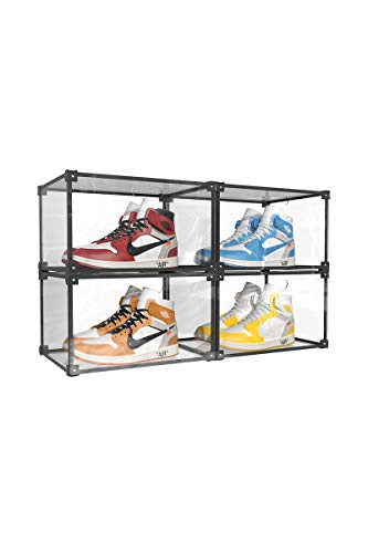 Clear Shoe Box Stackable Storage Bins Shoe Display Case Shoes Box Side-open Shoe Container Transparent Plastic Shoes Organizer Displaying Boxes Sneaker Organizer Box Stackable Drawers 4