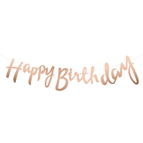 hellomagic Happy Birthday Banner, 5 Meter Glitter/Metallic Happy Birthday Girlande zum Aufhängen für Erwachsene und Kinder Geburtstag Party (Rosegold)