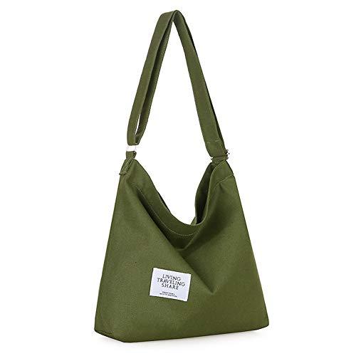Covelin Women's Retro Large Size Canvas Shoulder Bag Hobo Crossbody Handbag Casual Tote Olive drab