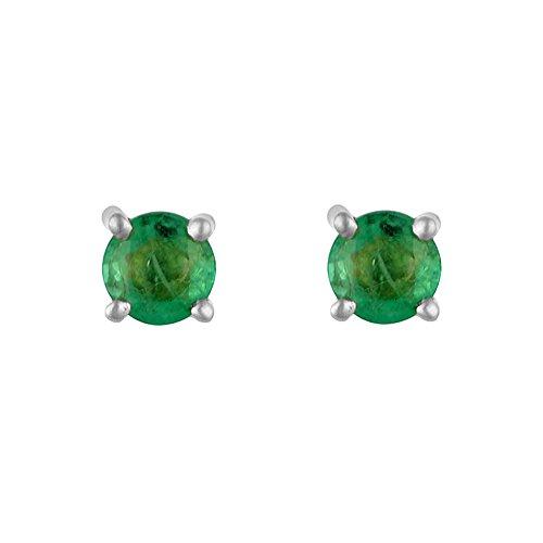 Ivy Gems Pendientes de Oro Blanco de 9k con Esmeralda para Mujer, Verde (Emerald)