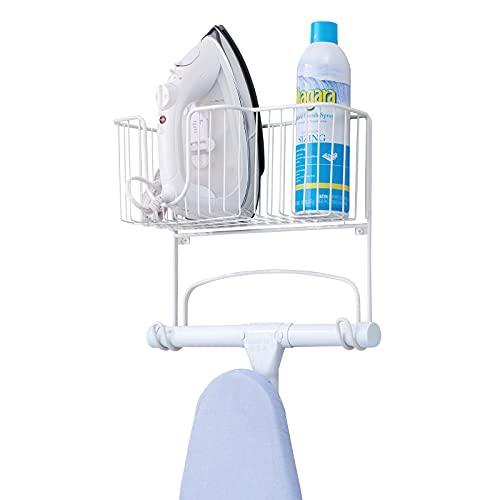 mDesign soporte para mesa de planchar - Mueble de planchado para plancha, tabla y productos de limpieza - Armario planchador para montar en pared - Color blanco