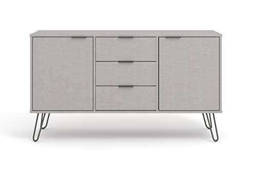 Home Source Grey Sideboard Cupboard with Living Room Storage Furniture, MDF, 2 Door, 3 Drawer
