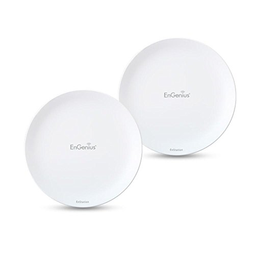 EnGenius Technologies Wi-Fi 5 Outdoor AC867 5GHz Wireless Access Point/Client Bridge, Long Range, PTP/PTMP, Additional 802.3at PoE Port, IP55, 26dBm with 19dBi Directional Antennas (N-EnStationAC Kit)