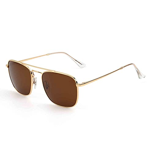 JIM HALO Retro Square Aviator Sunglasses Premium Glass Lens Flat Metal Sun Glasses Men Women (Gold/Brown)