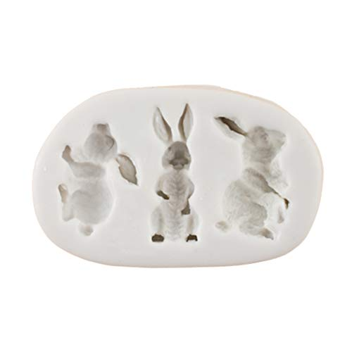 niumanery 3D Silicone Cake Mould Easter Three Rabbits Decorat Mold Chocolate Baking Tool