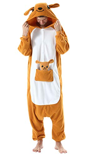 Adulte Unisexe Anime Animal Costume Cosplay Combinaison Pyjama Outfit Nuit Vetements Onesie Kigurumi Halloween Costume Soiree de Deguisements Kangourou pour Hauteur 148-187CM