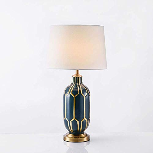 VIWIV Lámpara de escritorio LED de cobre inferior azul borde de oro tela pintado a mano de cerámica sala de estar dormitorio estudio comedor mesa lámpara iluminación lámparas
