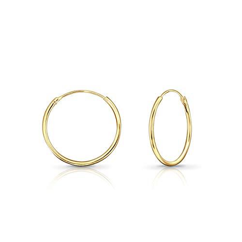 DTPsilver - Damen - Creolen - Ohrringe 925 Sterling Silber und Gelb Vergoldet - Dicke 1.2 mm - Durchmesser 20 mm