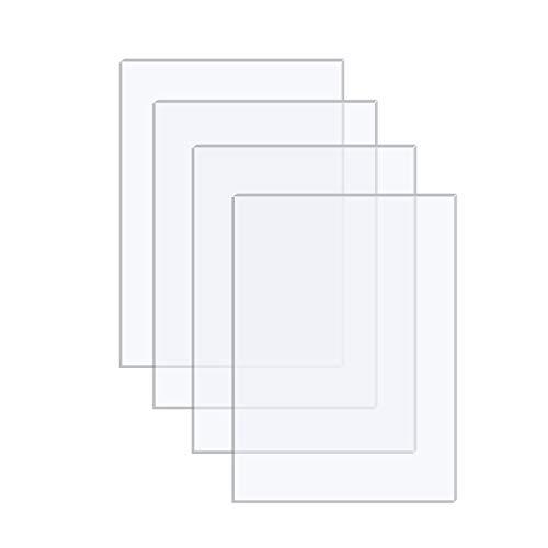 Langaelex 4 Hojas de Acrílico Transparente 254 x 203,2 x 1,1mm Metacrilato Plexiglás para Reemplazo de Vidrio de Marcos de Fotos, Exhibición de Proyectos, Pintura (8 x 10 pulgadas)
