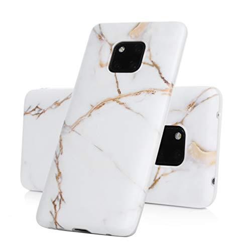Vogu'SaNa Kompatible für Handyhülle Huawei Mate20 Pro Hülle Marmor Case Cover Silikon Matt Marble Muster Weiche Tasche Herren Damen Schutzhülle Dünn Handytasche Skin Softcase Schale Bumper-Weiß Gold
