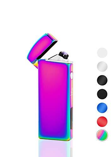 TESLA Lighter T14 Regenbogen Lichtbogen Feuerzeug USB Aufladbar Elektro Sturmfest Plasma Doppel-Lichtbogen mit Akku