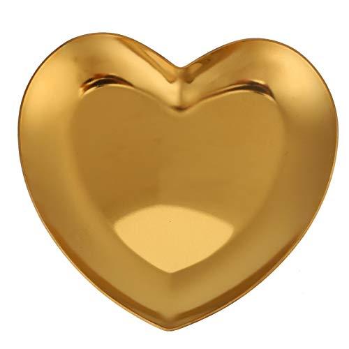 Vobor Ringe Halskette Schmuck Veranstalter Herz Nail Art Aufbewahrung Tray Plate Display(Gold)