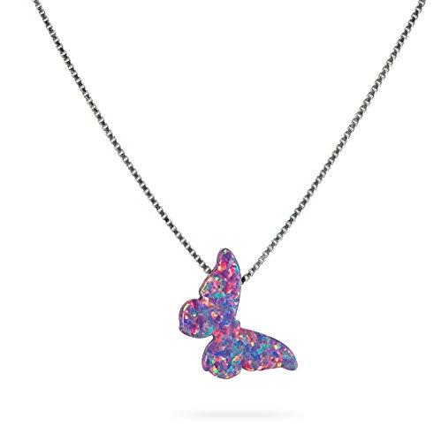 Collar de mariposa de ópalo lila púrpura ópalo de plata esterlina delicada joyería de ópalo...