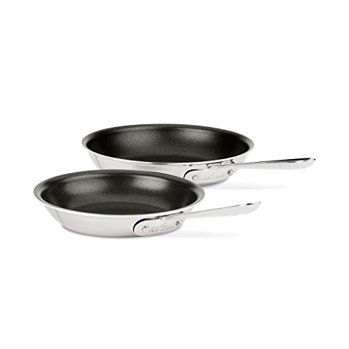All-Clad 410810 NSR2 Stainless Steel Dishwasher Safe Oven Safe PFOA-free Nonstick 8-Inch and 10-Inch Fry Pan Set, 2-Piece, Silver