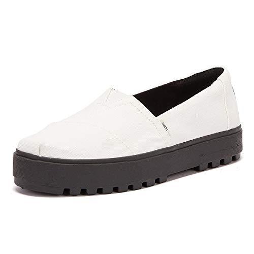 TOMS Alpargata Lug zapatos sin cordones para mujer, Blanco (Lienzo Blanco), 37 EU
