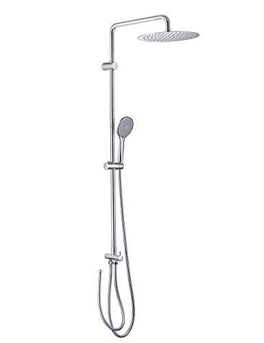 ONECE Duschsystem ohne Armatur (inkl. 3 Strahlarten Handbrause und Umstellung) Duschset Regendusche mit Edelstahl Duschkopf Rund 30x30 cm