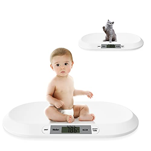 Meilen Báscula para mascotas, báscula multifunción para bebés de 20 kg con lb / kg / st para el peso del bebé, la salud del niño pequeño, la báscula infantil, ABS con cinta métrica