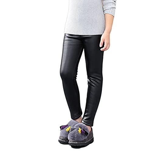 YAOTT Niñas Leggins PU Cuero Leggings Cintura Elástica Pantalones de Lápiz Jeggings Leggings Térmicos Forrado de Terciopelo Grueso Calientes Pantalones de Lápiz,Negro,110