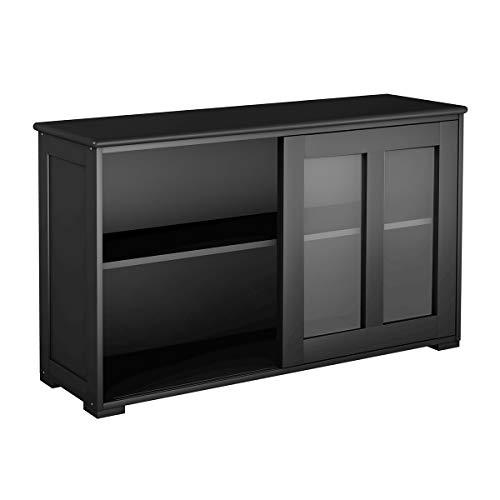 GIANTEX Sideboard mit Glastüren, Küchenschrank Anrichte mit höhenverstellbarer Ablage, Kommode beistellschrank für Küche, Wohnzimmer oder Flur, 106,5 x 33 x 62,5cm (schwarz)