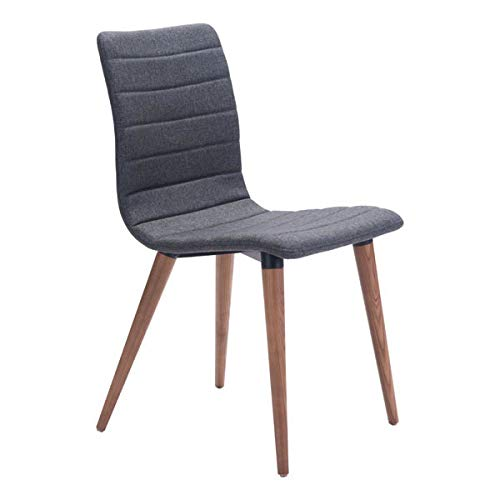 "Zuo Modern 100274 Jericho Dining Chairs (Set of 2), Gray, Poly-linen Upholstered Seam Detail, Slim Seat/Back Design, Sturdy all Wood Legs in Warm Walnut Finish, Dimensions 17.7""W x 33.9""H x 20.9""L"