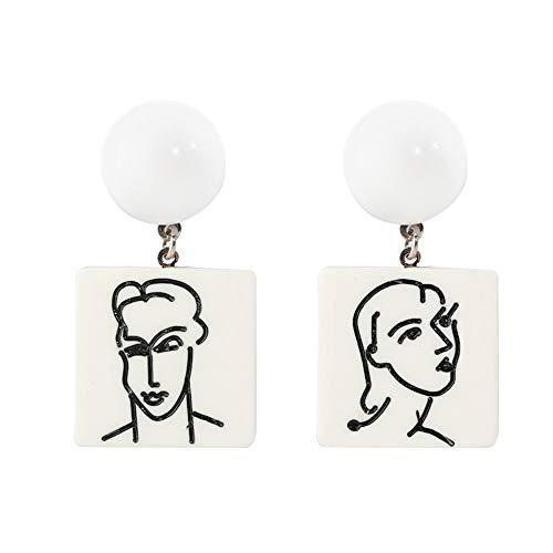 Ohrringe Weiblich Abstrakt Männer Frauen Abbildung Weißes Quadrat Acryl Ohrhänger Für Girl's Frauen Koreanischen Geometrische Gesicht Ohrring Schmuck Design Exquisite