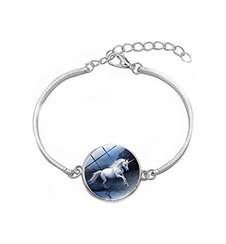 Sunshine Pegasus - Pulsera de Unicornio, diseño de Caballo Blanco en el Borde del Agua