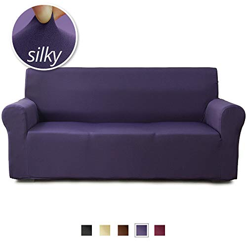 NICEEC 3 Seat Sofa Cover Silky Soft 1-Piece Purple Slipcover for Sofas Strechable Universal Couch Cover for Living Room Easy Fit Washable Duration Furniture Sofa Cover Viscose Nylon Blend