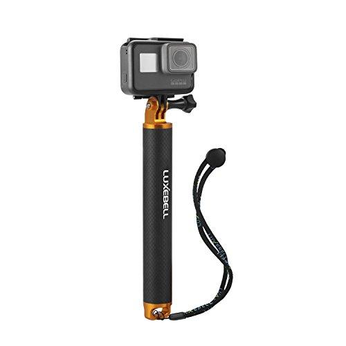 Luxebell mano Floating Grip / Palo Galleggiante / Bobber alluminio e fibra di carbonio materiali in lega di alluminio Treppiede e Dado+ Uno Nero vite di plastica, per GoPro Hero 4, 3+, 3, 2, 1, Hero Foto e Videocamere (gold)