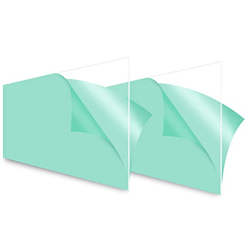 Edvision Polycarbonate Plastic Sheet 16' X 11.5' X 0.078' (2mm), 2 Pack Shatterproof Clear Plastic Board Easier to Cut Bend Mold Than Acrylic Sheet, Use for DIY, Cabinets, Windows, Display