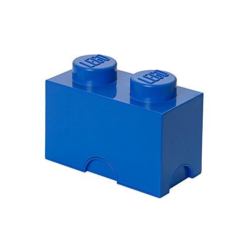 LEGO Aufbewahrungsstein, 2 Noppen, Stapelbare Aufbewahrungsbox, 2,6 l, blau