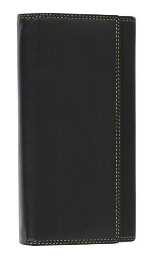 VISCONTI  Portafoglio Donna Vera Pelle con protezione RFID Porta Carte di Credito con Portamonete Borsellino Portafogli Porta Banconote -'COLORADO' (CD-21 Nero/verde - Blk/lime)