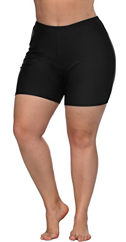 ATTRACO Plus Size Swim Bottoms for Women High Waisted Tankini Shorts Black 3X