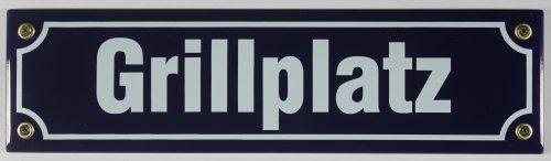 Buddel-Bini Straßenschild Grillplatz 30x8 cm Emaille Schild Emaile Grillen Grill BBQ Garten