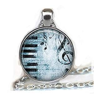 Colgante de piano de Blues, collar de música, collar de piano, joyería de música, regalo para profesor de piano, regalo para profesor de música