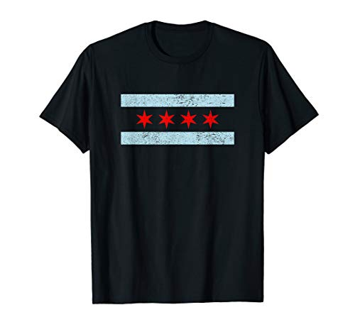 Sweet Vintage Retro Chicago Flag Red Six Pointed Stars T-Shirt