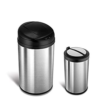 NINESTARS CB-DZT-40-8/12-18 Automatic Touchless Infrared Motion Sensor Trash Can Combo Set 11 Gal 40L & 3 Gal 12L Stainless Steel Base  Round Black & Ladybug Lid