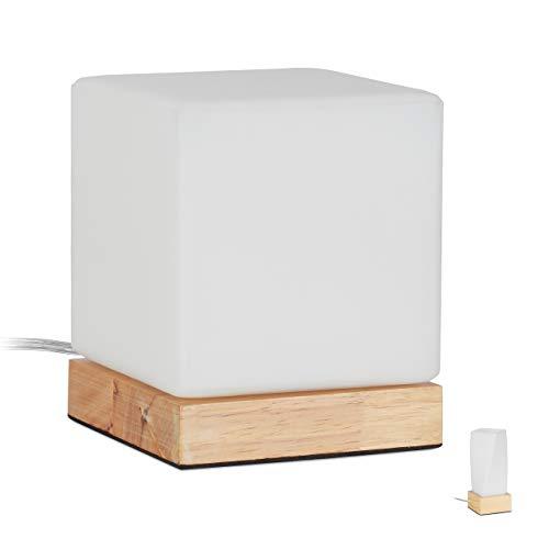Relaxdays 10027473_615 tafellamp voor woonkamer en slaapkamer, van hout en opaal, E14, nachtlampje, kubus, natuur, wit-bruin, 15 x 12 x 12 cm