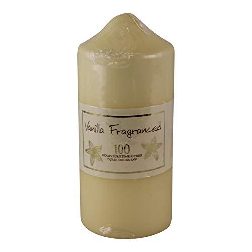 EliteKoopers 100 Hour Burn Time Vanilla Fragrance Pillar Candle For Home, Office Decoration Item