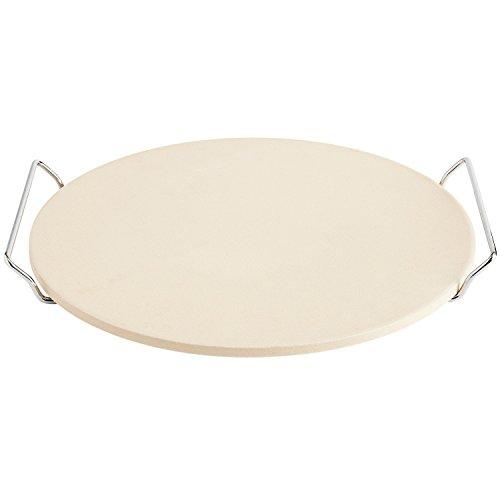 Jamie Oliver JC5122 Pizzastein mit Serviergestell. Für einen herrlich knusprigen Pizza-Boden, auch für den Grill geeignet. Ø 33 cm, Feuerfester Stein, Creme, Durchmesser