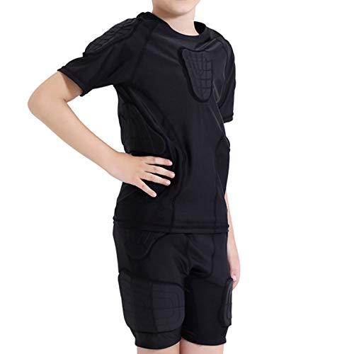 JFF Niños Body Safe Guard Camisas Y Pantalones De Compresión Acolchados, Conjunto De Traje Protector De Pecho con Costilla De Hombro Esquí Fútbol Baloncesto Paintball Rugby,YXL