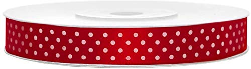 Libetui Satinband gepunktet Rot Breite 12mm Schleifenband Rot Satin Dekoband Rot Geschenkband, Geschenkverpackung Luftballons Blumen Hochzeit Rolle 25 Meter, Band Rot gepunktet