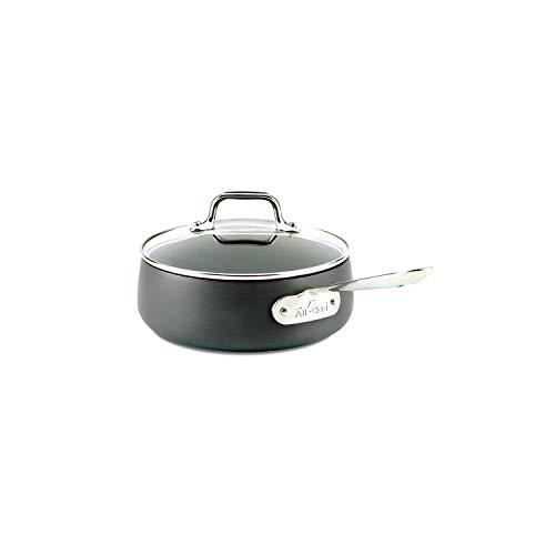 All-Clad 2100090549 E7852664 HA1 Hard Anodized Nonstick Dishwaher Safe PFOA Free Sauce Pan Cookware, 2.5-Quart, Black, Aluminum