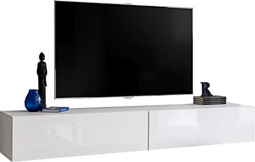 ExtremeFurniture T34-200 Mueble para TV, Carcasa en Blanco Mate/Frente en Blanco Alto Brillo